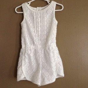 White Romper with Gold Hardware